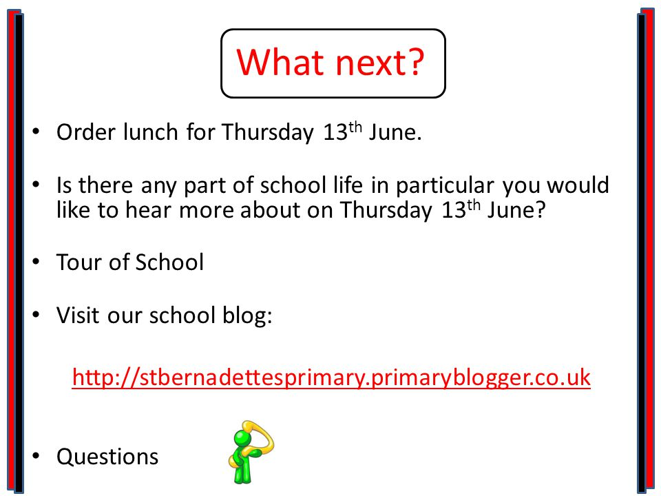 What next. Order lunch for Thursday 13 th June.