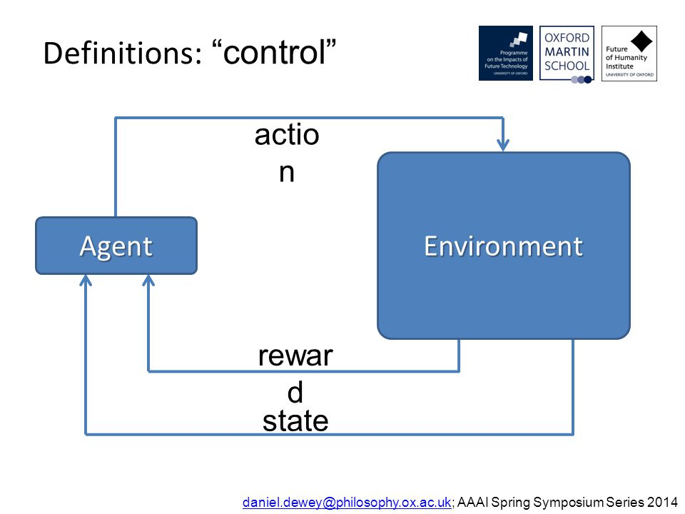 Definitions: control daniel.dewey@philosophy.ox.ac.ukdaniel.dewey@philosophy.ox.ac.uk; AAAI Spring Symposium Series 2014 actio n rewar d state Agent Environment