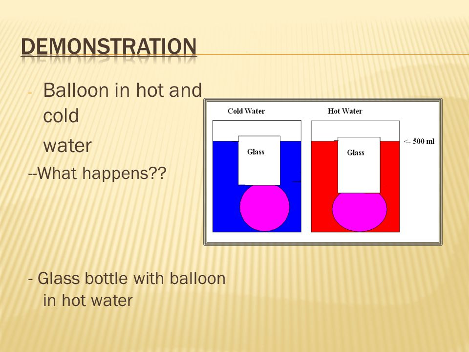 - Balloon in hot and cold water --What happens - Glass bottle with balloon in hot water