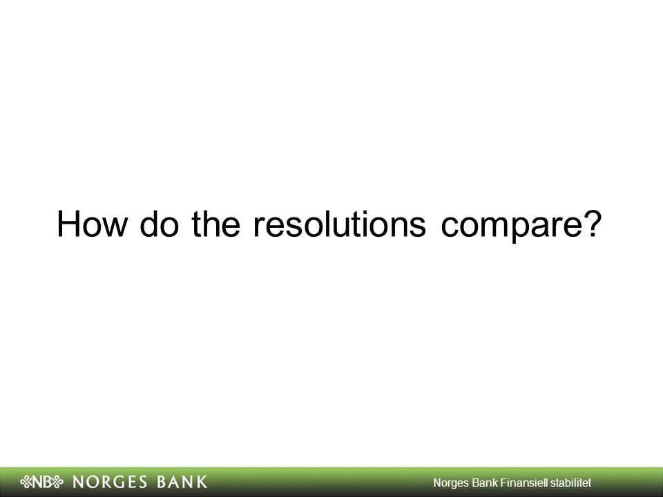How do the resolutions compare Norges Bank Finansiell stabilitet