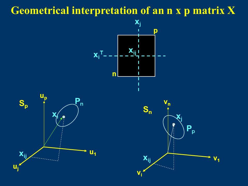 p n xiTxiT xjxj x ij PpPp SnSn vnvn v1v1 vivi PnPn SpSp upup u1u1 ujuj xixi xjxj Geometrical interpretation of an n x p matrix X