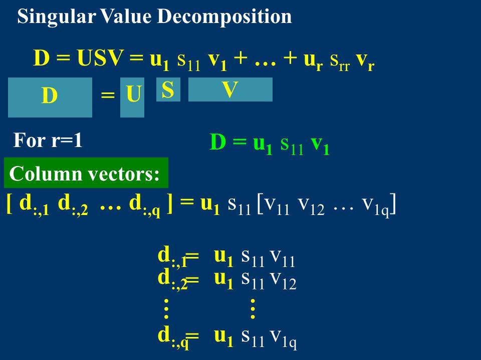 D = USV = u 1 s 11 v 1 + … + u r s rr v r Singular Value Decomposition [ d :,1 d :,2 … d :,q ] = u 1 s 11 [v 11 v 12 … v 1q ] d :,1 = u 1 s 11 v 11 …… d :,2 = u 1 s 11 v 12 d :,q = u 1 s 11 v 1q Column vectors: =D U SV For r=1 D = u 1 s 11 v 1