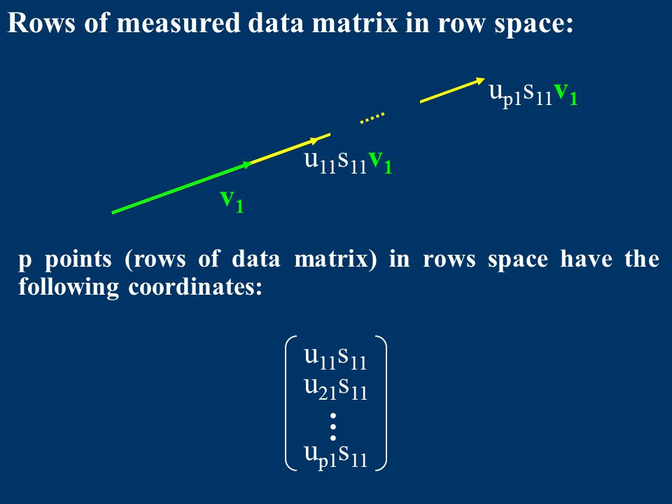 Rows of measured data matrix in row space: v1v1 u 11 s 11 v 1 u p1 s 11 v 1 u 11 s 11 u 21 s 11 … u p1 s 11 p points (rows of data matrix) in rows space have the following coordinates: