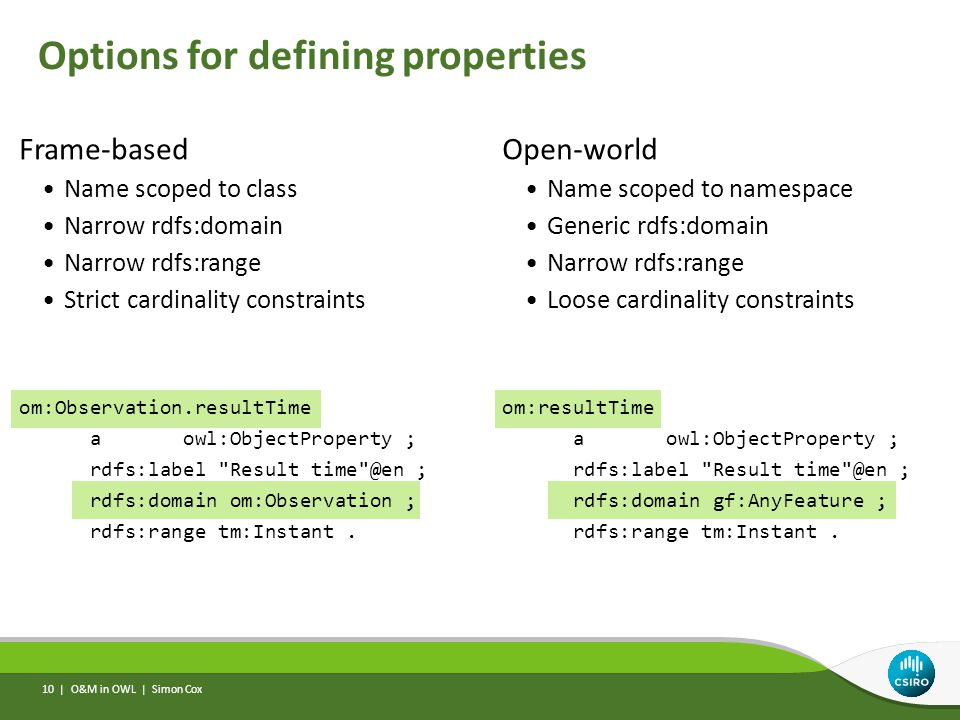 Options for defining properties Frame-based Name scoped to class Narrow rdfs:domain Narrow rdfs:range Strict cardinality constraints om:Observation.re