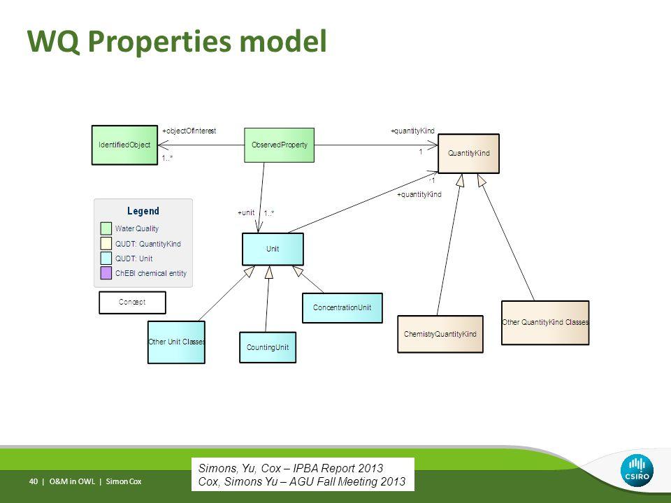 WQ Properties model O&M in OWL | Simon Cox 40 | Simons, Yu, Cox – IPBA Report 2013 Cox, Simons Yu – AGU Fall Meeting 2013