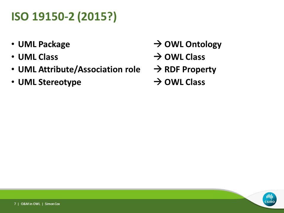 ISO 19150-2 (2015 ) UML Package  OWL Ontology UML Class  OWL Class UML Attribute/Association role  RDF Property UML Stereotype  OWL Class O&M in OWL | Simon Cox 7 |