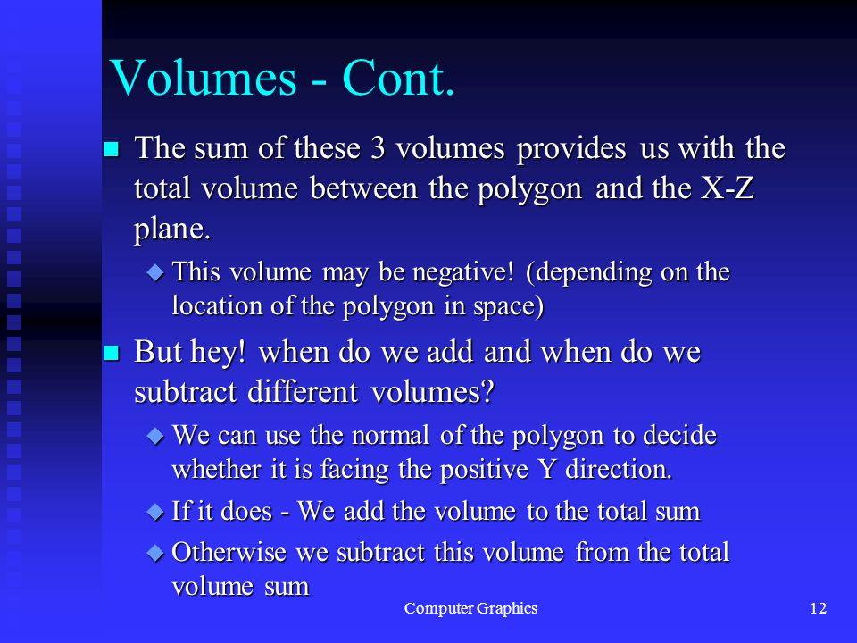 Computer Graphics12 Volumes - Cont.