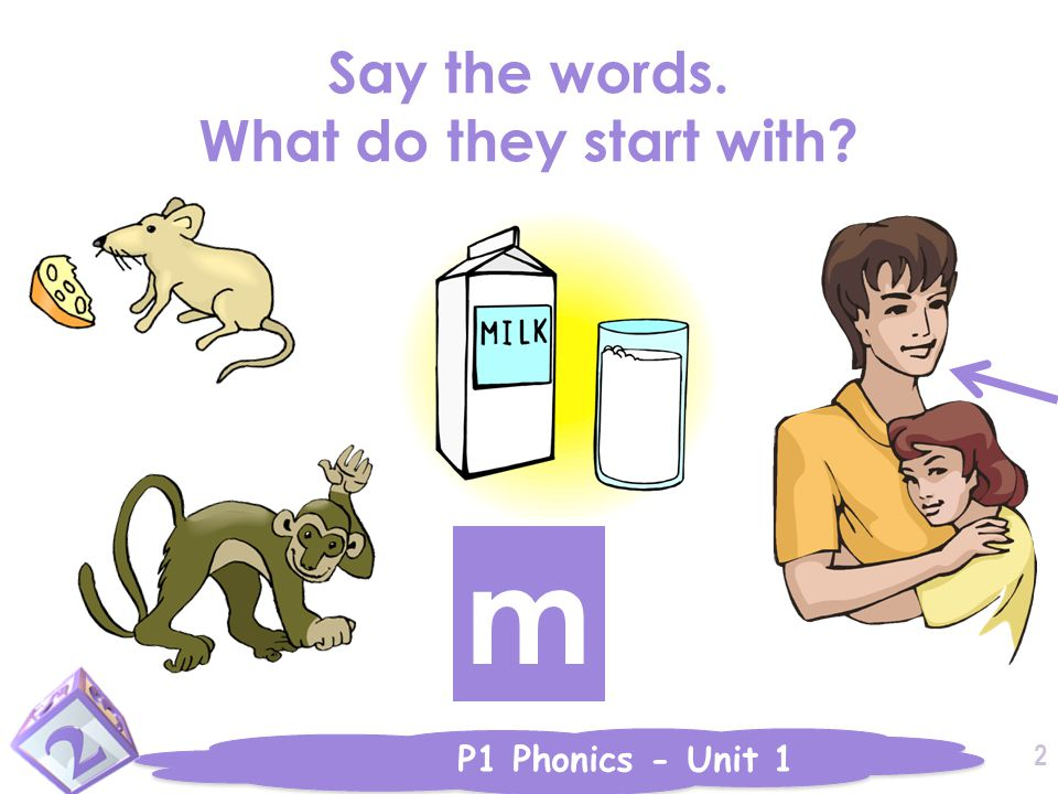 P1 Phonics - Unit 1 Say the words. What do they start with 2 m