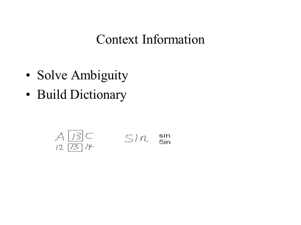 Context Information Solve Ambiguity Build Dictionary