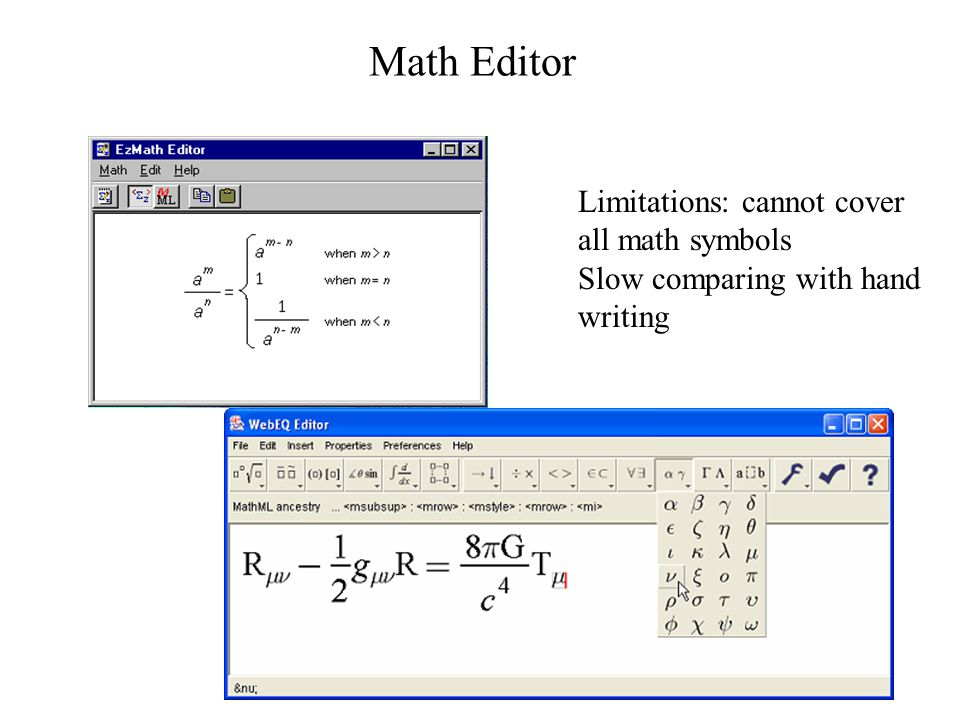 Math Editor Limitations: cannot cover all math symbols Slow comparing with hand writing