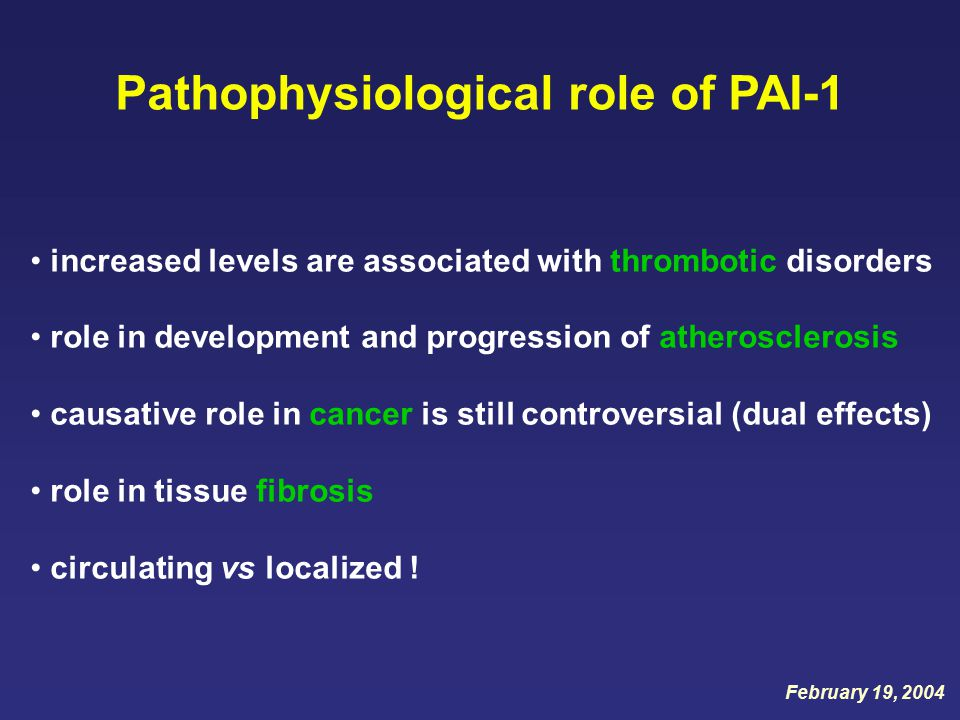 Pathophysiological role of PAI-1 increased levels are associated with thrombotic disorders role in development and progression of atherosclerosis causative role in cancer is still controversial (dual effects) role in tissue fibrosis circulating vs localized .