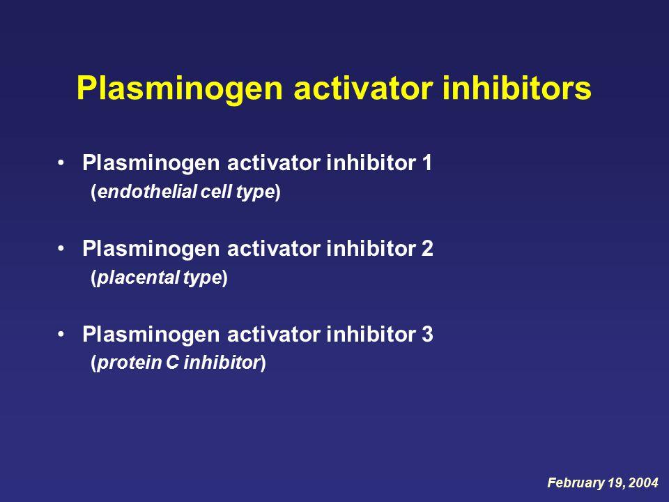 Plasminogen activator inhibitors Plasminogen activator inhibitor 1 (endothelial cell type) Plasminogen activator inhibitor 2 (placental type) Plasminogen activator inhibitor 3 (protein C inhibitor) February 19, 2004