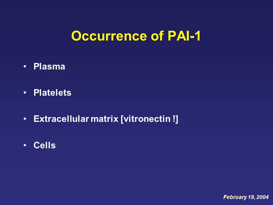 Occurrence of PAI-1 Plasma Platelets Extracellular matrix [vitronectin !] Cells February 19, 2004