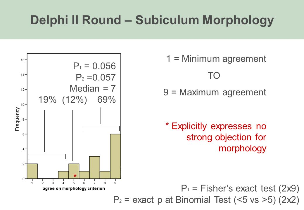 Delphi II Round – Subiculum Morphology 1 = Minimum agreement TO 9 = Maximum agreement * Explicitly expresses no strong objection for morphology P 1 =