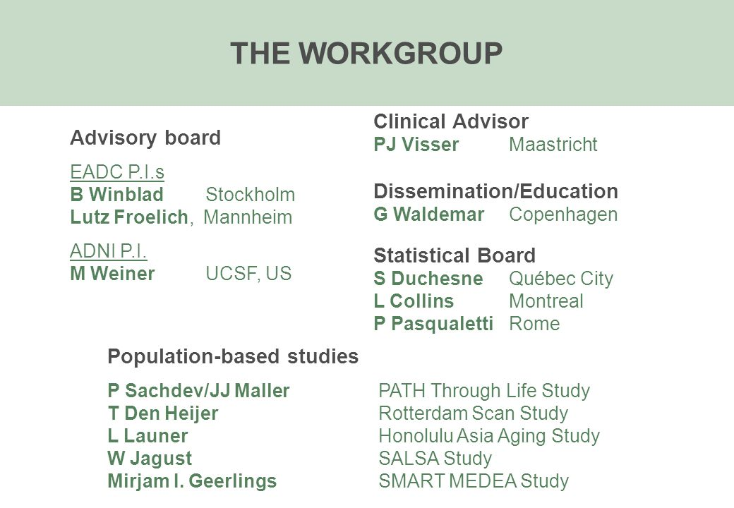 THE WORKGROUP Population-based studies P Sachdev/JJ Maller PATH Through Life Study T Den Heijer Rotterdam Scan Study L Launer Honolulu Asia Aging Study W Jagust SALSA Study Mirjam I.