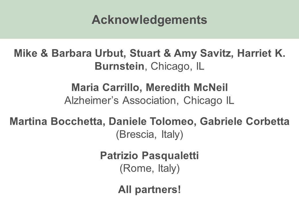 Acknowledgements Mike & Barbara Urbut, Stuart & Amy Savitz, Harriet K. Burnstein, Chicago, IL Maria Carrillo, Meredith McNeil Alzheimer's Association,