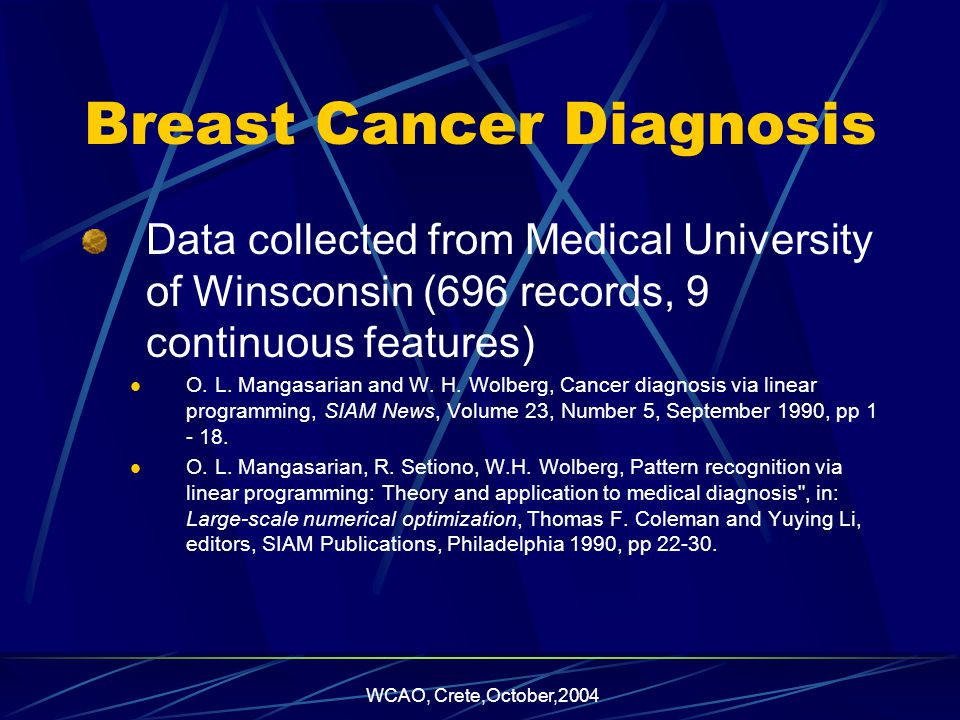 WCAO, Crete,October,2004 Breast Cancer Diagnosis Data collected from Medical University of Winsconsin (696 records, 9 continuous features) O.