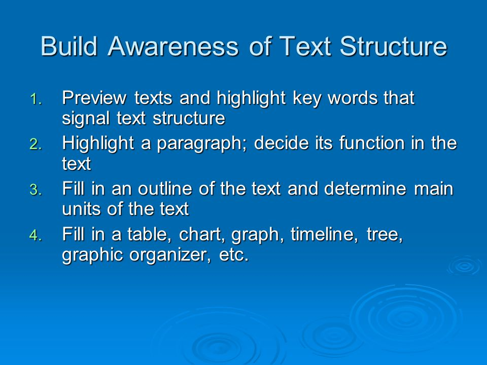Build Awareness of Text Structure 1. Preview texts and highlight key words that signal text structure 2. Highlight a paragraph; decide its function in