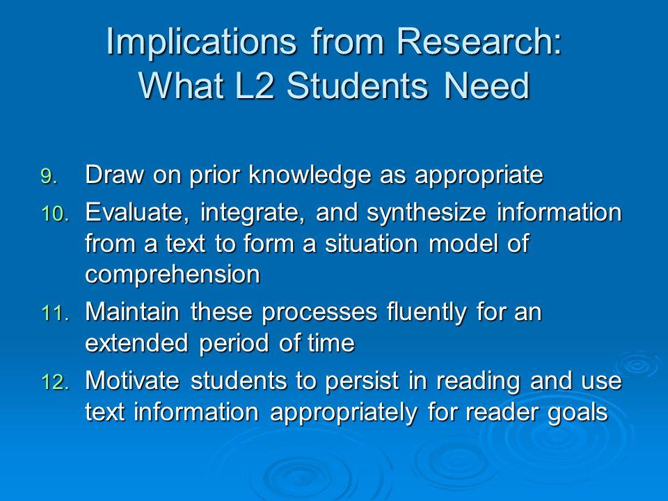 Teaching L2 Reading 1.Curriculum development principles for L2 reading 2.