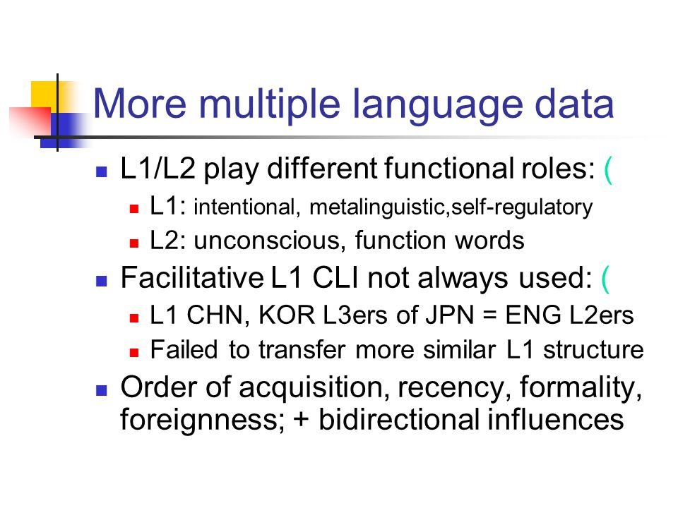 More multiple language data L1/L2 play different functional roles: ( L1: intentional, metalinguistic,self-regulatory L2: unconscious, function words F