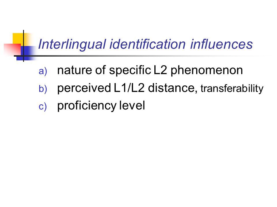 3.3 Besides the L1: Developmental influences & interlanguage L1/L2 common errors (wented, goed) Universal sequences morphology (e.g.