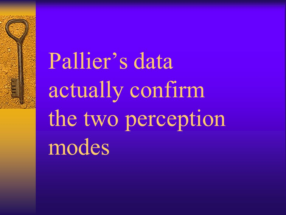 Pallier's data actually confirm the two perception modes