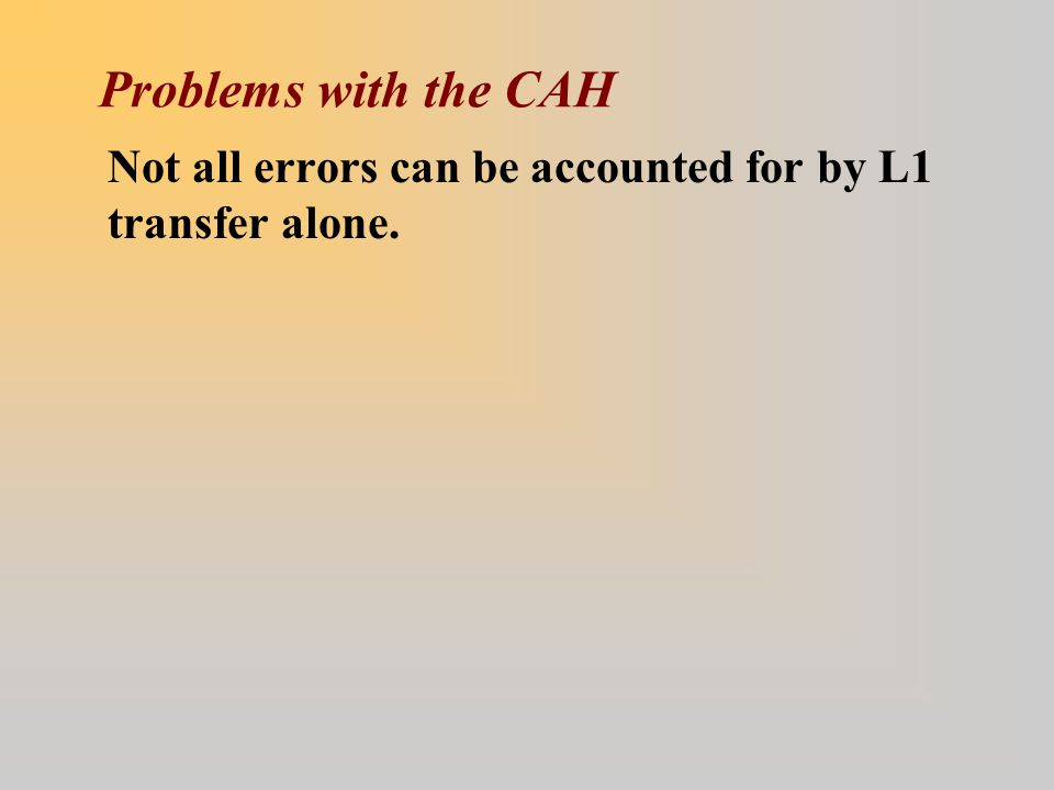 Problems with the CAH Not all errors can be accounted for by L1 transfer alone.