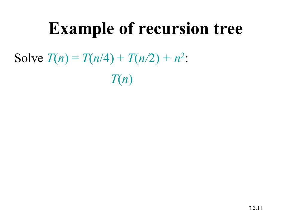 L2.11 Example of recursion tree T(n)T(n) Solve T(n) = T(n/4) + T(n/2) + n 2 :