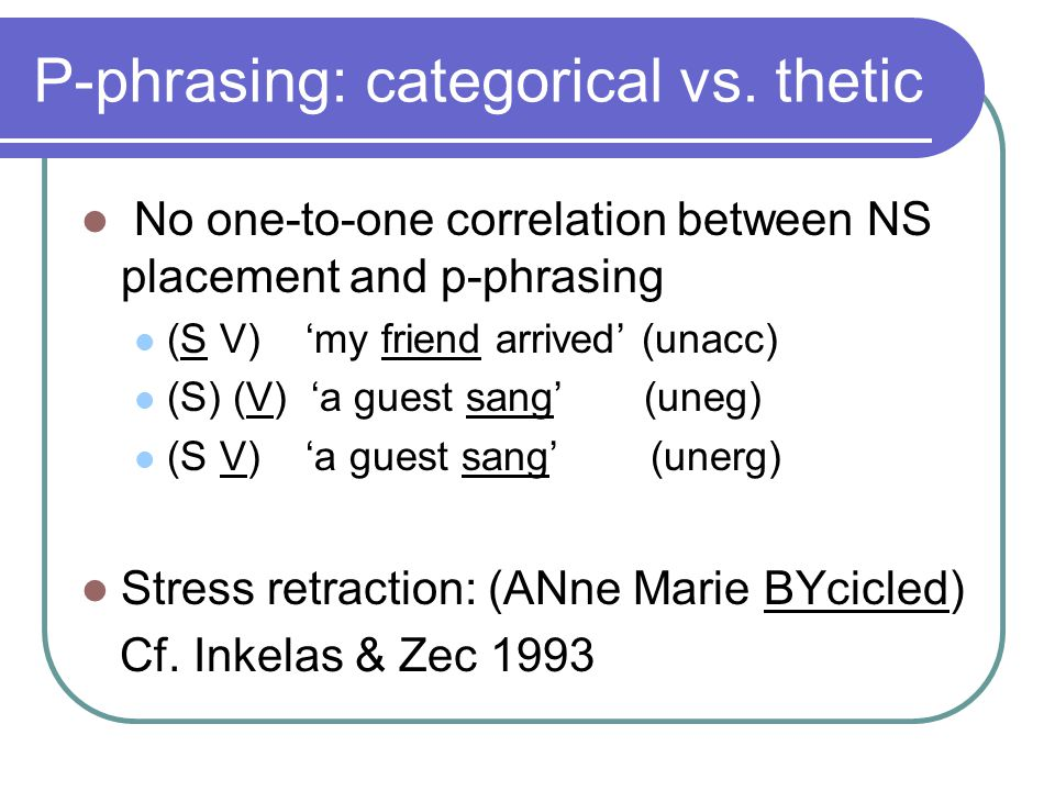 No one-to-one correlation between NS placement and p-phrasing (S V) 'my friend arrived' (unacc) (S) (V) 'a guest sang' (uneg) (S V) 'a guest sang' (unerg) Stress retraction: (ANne Marie BYcicled) Cf.
