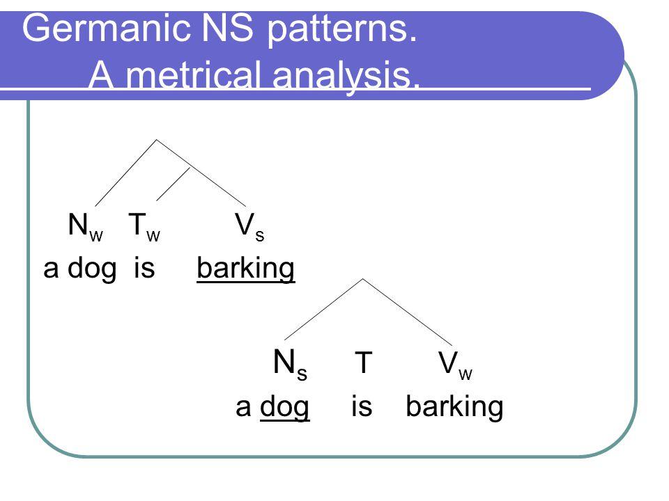 Germanic NS patterns. A metrical analysis. N w T w V s a dog is barking N s T V w a dog is barking