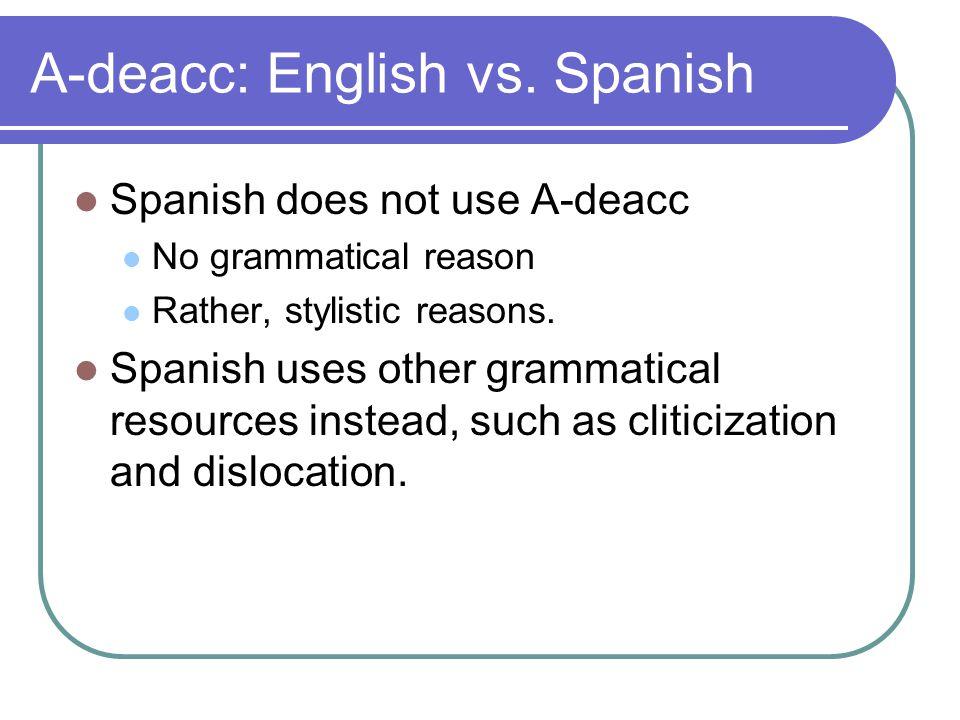 A-deacc: English vs.