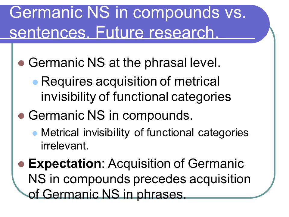 Germanic NS in compounds vs. sentences. Future research.