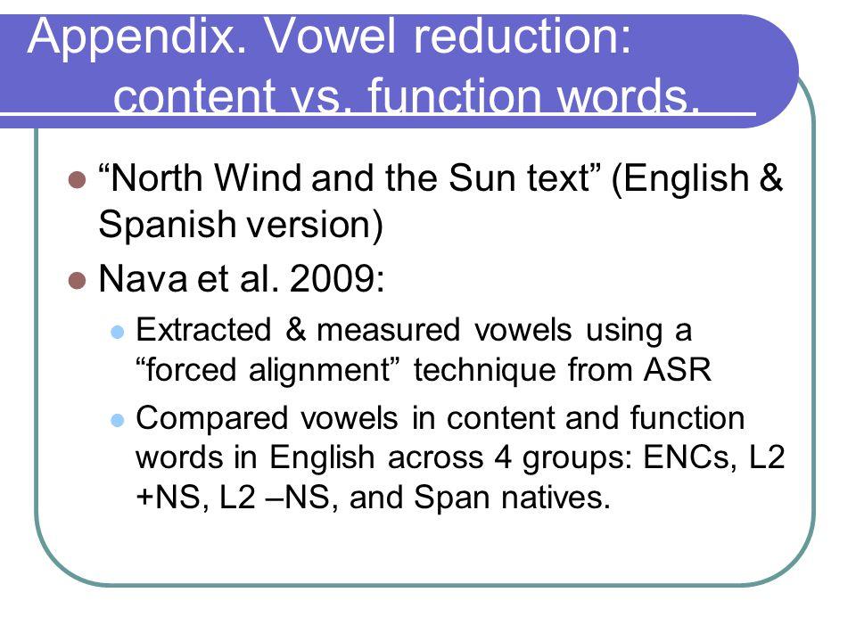 Appendix. Vowel reduction: content vs. function words.
