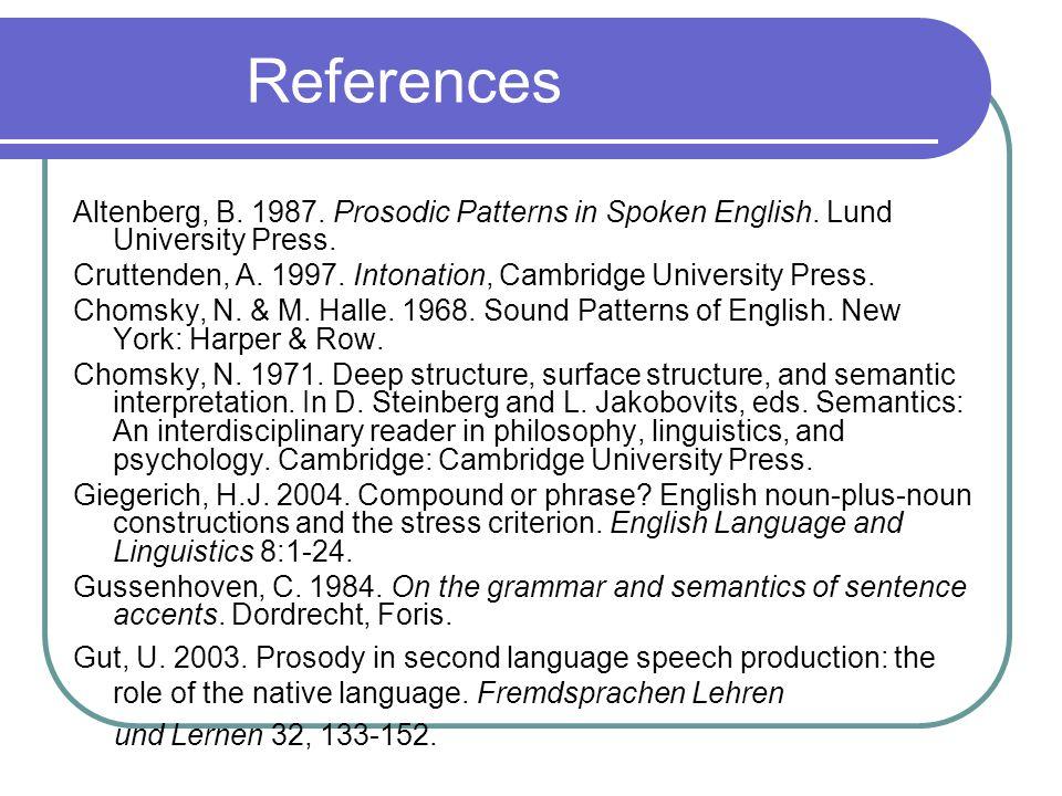 References Altenberg, B. 1987. Prosodic Patterns in Spoken English.