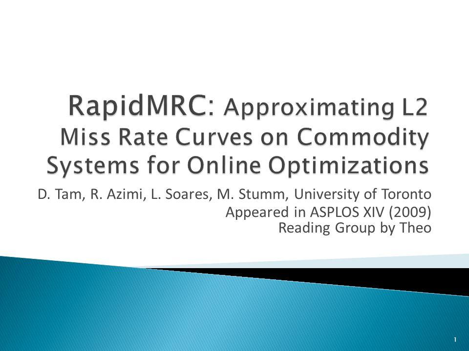 D. Tam, R. Azimi, L. Soares, M. Stumm, University of Toronto Appeared in ASPLOS XIV (2009) Reading Group by Theo 1