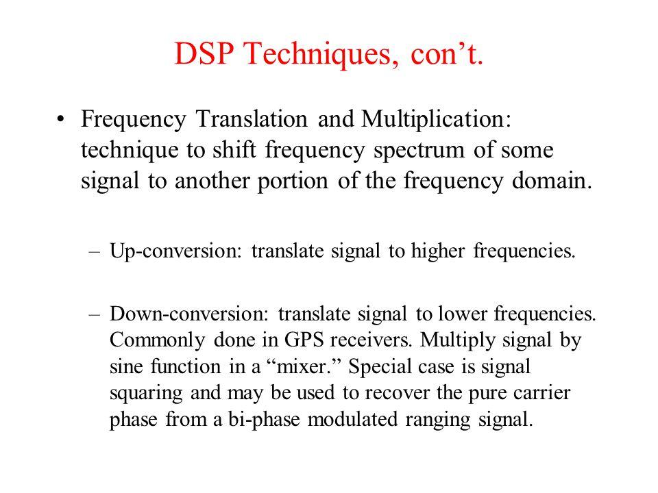 DSP Techniques, con't.