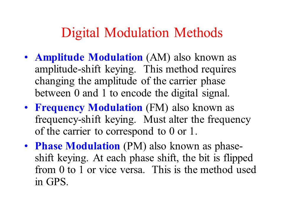 Digital Modulation Methods Amplitude Modulation (AM) also known as amplitude-shift keying.