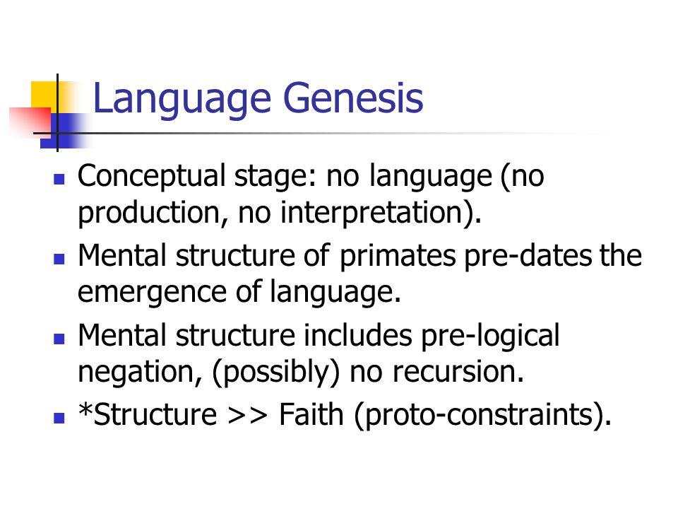 Language Genesis Conceptual stage: no language (no production, no interpretation).