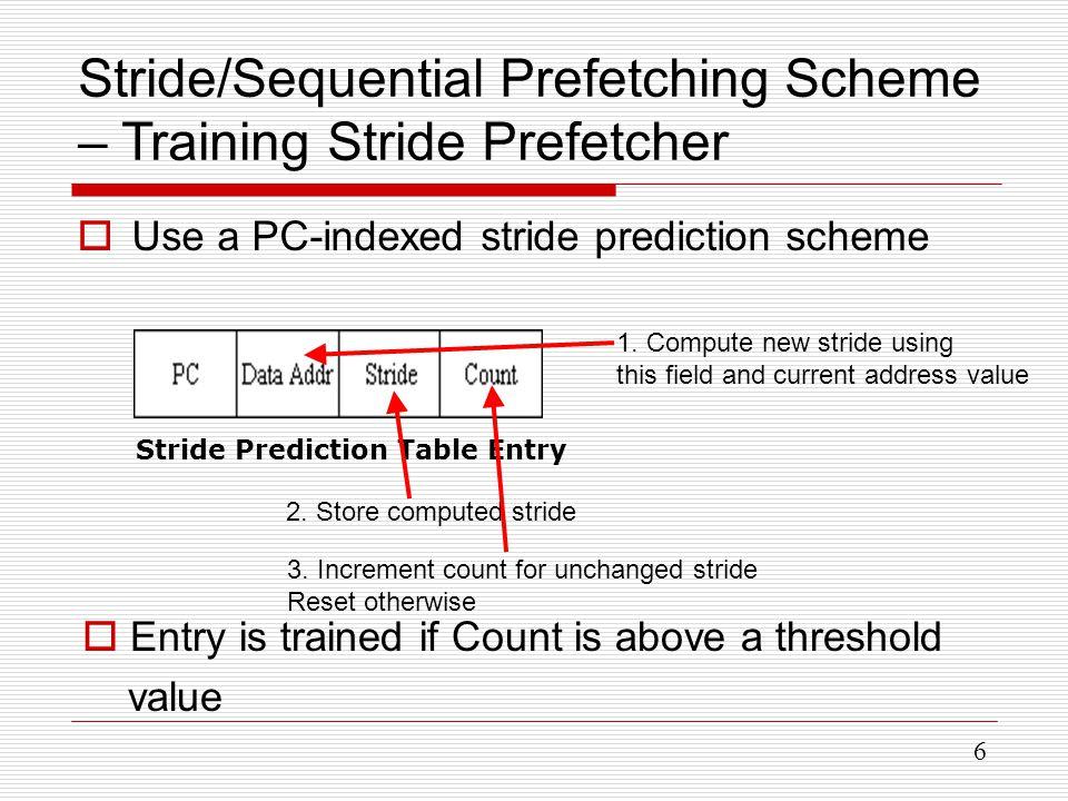 6 Stride/Sequential Prefetching Scheme – Training Stride Prefetcher  Use a PC-indexed stride prediction scheme Stride Prediction Table Entry 1.