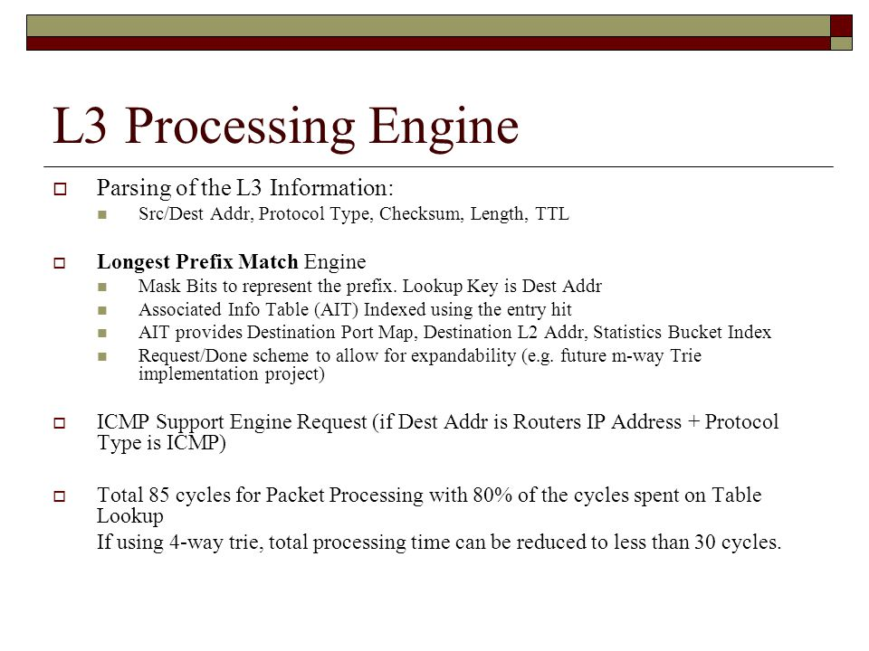 L3 Processing Engine  Parsing of the L3 Information: Src/Dest Addr, Protocol Type, Checksum, Length, TTL  Longest Prefix Match Engine Mask Bits to represent the prefix.