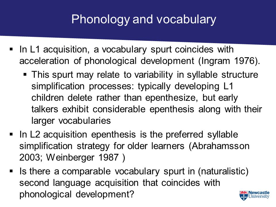 Phonology and vocabulary  In L1 acquisition, a vocabulary spurt coincides with acceleration of phonological development (Ingram 1976).  This spurt m