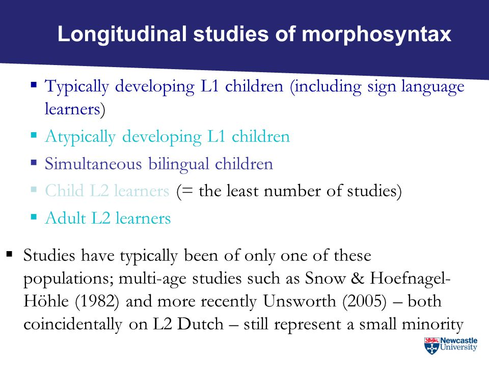 Adults w/no school Som;VN Target-like segmental and prosodic phonology Morphosyntax stage 1= bare VP; 4=CP Phonological awareness % correct reading level 4 = decoding onset; rimephoneme Phung29%1ii51%0%1 Nien3%1i34%17%1 Keif69%1ii61%8%1 Abba56%1ii56%17%1 Aliya63%1ii37%0%1 Shamey54%1i20%16%1 Asia81%1ii36%0%2 Sharif71% 4 68%42% 4 Naturalistic and uneducated adults: phonology + morphosyntax + phonological awareness + reading (cross-sectional study, Young-Scholten & Strom 2006)