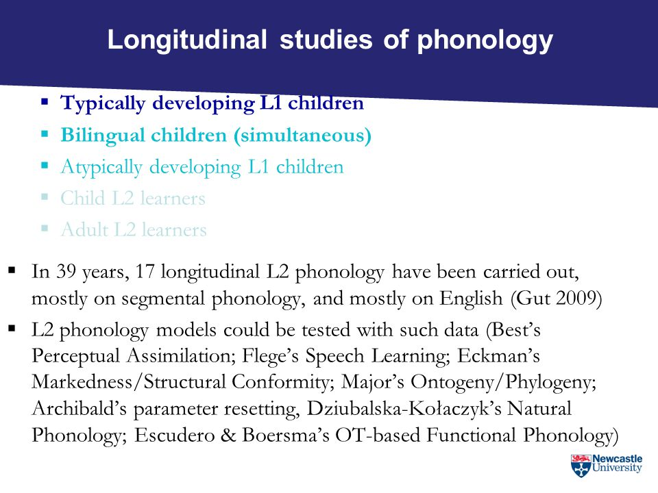 IL phonology and age  L2 phonology is natural (Eckman 1981)  L2 adults' phonologies are constrained by the same principles as younger learners' phonologies (Young-Scholten 1996)  Many (all?) current L2 phonology models assume access to innate language-specific/phonology-specific mechanisms across the lifespan  E.g.