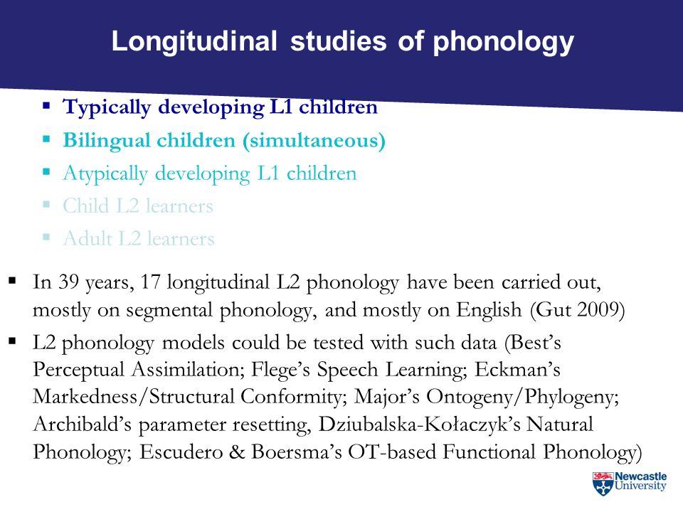 Longitudinal studies of phonology  Typically developing L1 children  Bilingual children (simultaneous)  Atypically developing L1 children  Child L