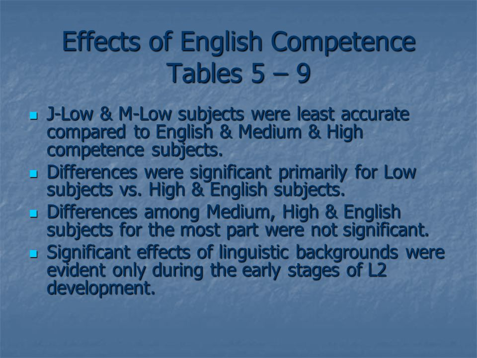 Effects of English Competence Tables 5 – 9 J-Low & M-Low subjects were least accurate compared to English & Medium & High competence subjects.