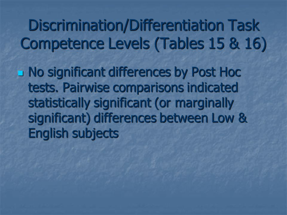 Discrimination/Differentiation Task Competence Levels (Tables 15 & 16) No significant differences by Post Hoc tests.