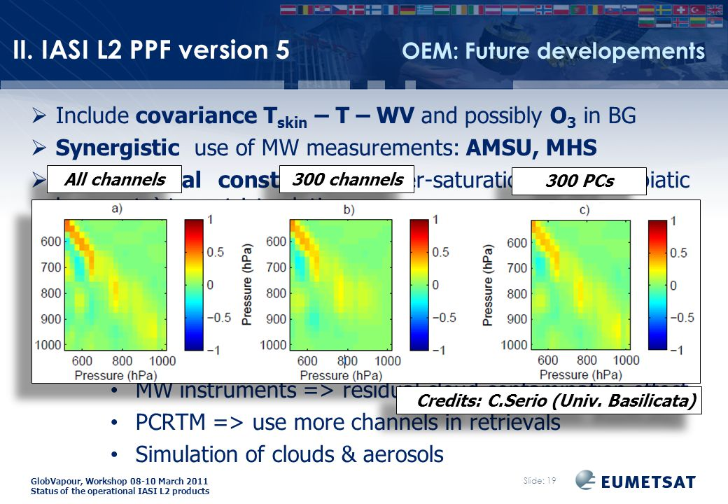 GlobVapour, Workshop 08-10 March 2011 Status of the operational IASI L2 products  Include covariance T skin – T – WV and possibly O 3 in BG  Synergistic use of MW measurements: AMSU, MHS  Add physical constraints (super-saturation and adabiatic lapse rate) to restrict solution space  More channels needed for humidity retrievals: external study for MTG-IRS by C.