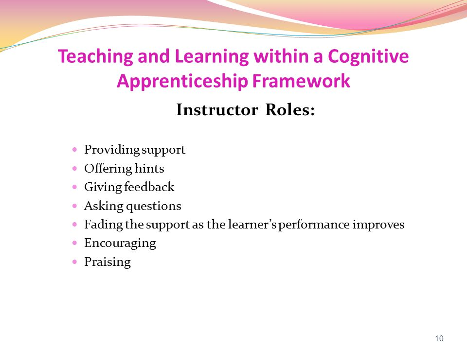 Teaching and Learning within a Cognitive Apprenticeship Framework Instructor Roles: Providing support Offering hints Giving feedback Asking questions Fading the support as the learner's performance improves Encouraging Praising 10