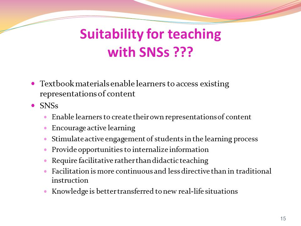 Suitability for teaching with SNSs ??.