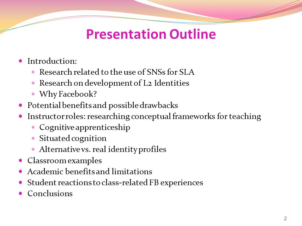 Research Related to SNSs & SLA With Web 2.0, current generation of students has developed new learning styles and qualitatively different thought patterns (Thorne & Payne, 2005) SNSs foster the ideal language learning environment, one that encourages interaction and collaboration-the major goals, after all, or of language itself (Lomicka & Lord, 2009) Learning a language through interactions with others ties in with Vygotsky's (1978) socio-cultural approach to learning and its later adaptation for L2 teaching and learning Incorporating communicative acts via an SNS could be as practical for [L2] students as teaching them how to order in a restaurant (McBride, 2009) 3